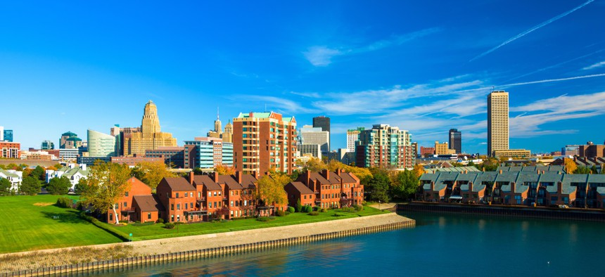 The skyline in Buffalo, New York, the county seat of Erie County.