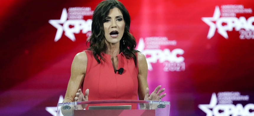 In this Feb. 27, 2021, file photo, South Dakota Gov. Kristi Noem speaks at the Conservative Political Action Conference (CPAC) in Orlando, Fla. A billionaire Republican donor is paying $1 million to help defray the cost of deploying the South Dakota National Guard to the U.S. -Mexico border.