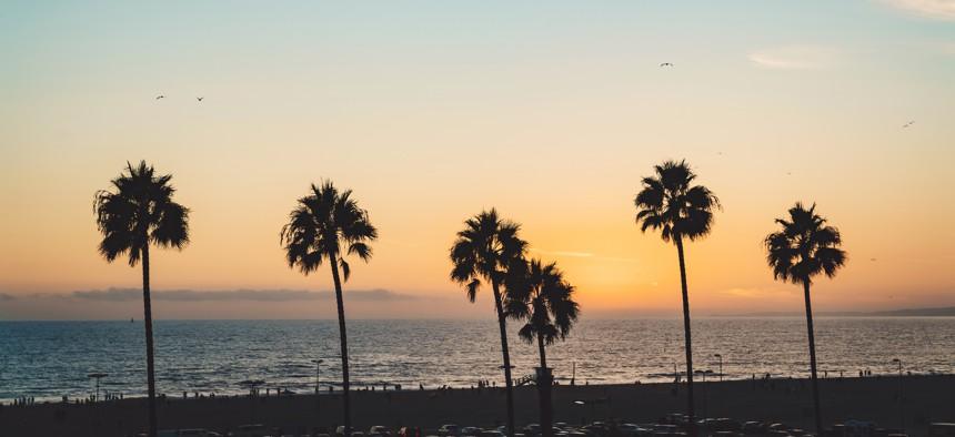 Sunset on Santa Monica beach in Los Angeles.