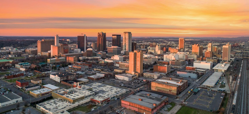 The skyline of Birmingham, Alabama. The city was an early mover with the Opportunity Zones program. It's possible cities could use similar strategies as they tap newly available federal aid.