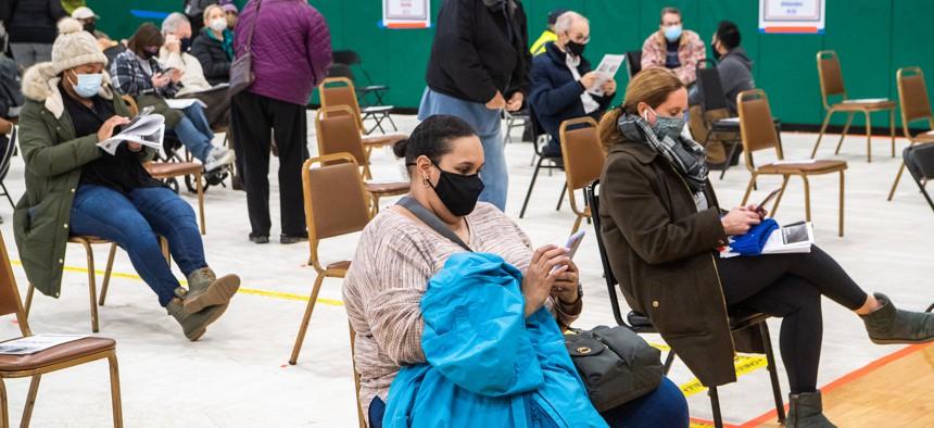 COVID-19 vaccination center at the Delavan Grider Community Center in Buffalo