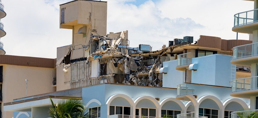 The remains of the Champlain Towers Surfside Condominium in Florida after its partial collapse in June.