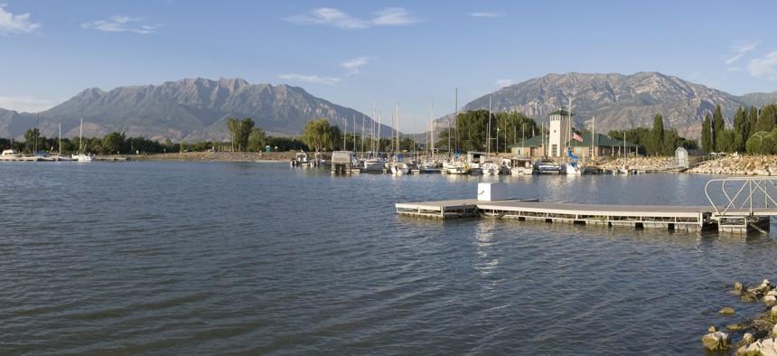 Harbor and boats at Utah Lake State Park in Provo, Utah.