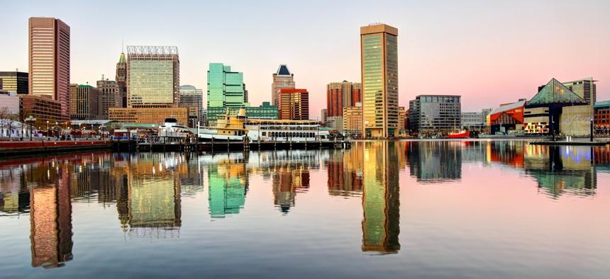 Baltimore's skyline along the Inner Harbor.