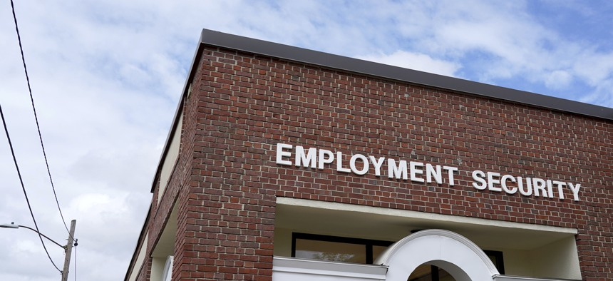 A New Hampshire Works employment security job center is seen Monday, May 10, 2021, in Manchester, N.H.