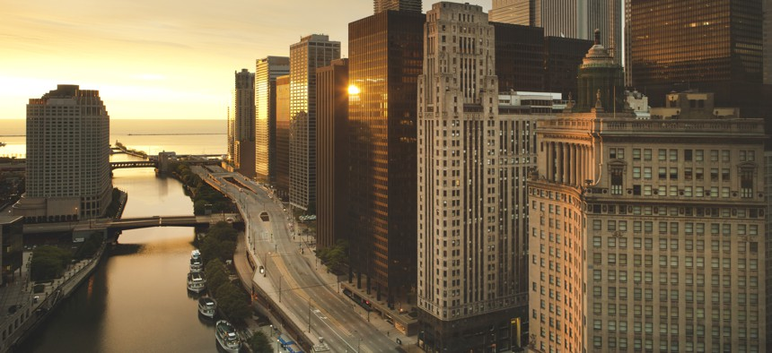 Downtown Chicago at dawn.