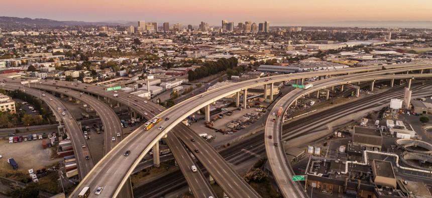 Interstate highways slice through Oakland, California.