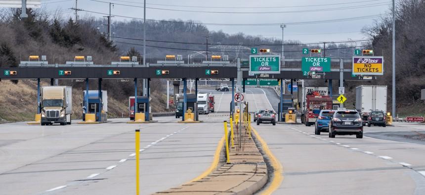 Toll lanes in Pennsylvania.