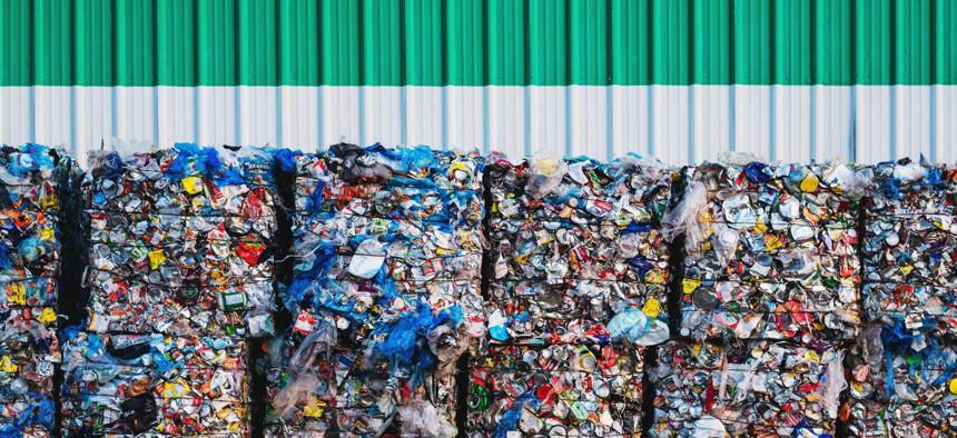 Bundles of plastic waste.