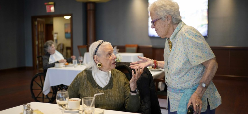 Residents at RiverWalk, an independent senior housing facility, in New York, Thursday, April 1, 2021.