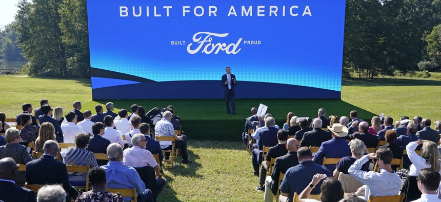 Ford Executive Chairman Bill Ford speaks during a presentation on the planned factory to build electric F-Series trucks and the batteries to power future electric Ford and Lincoln vehicles Tuesday, Sept. 28, 2021, in Memphis, Tenn.
