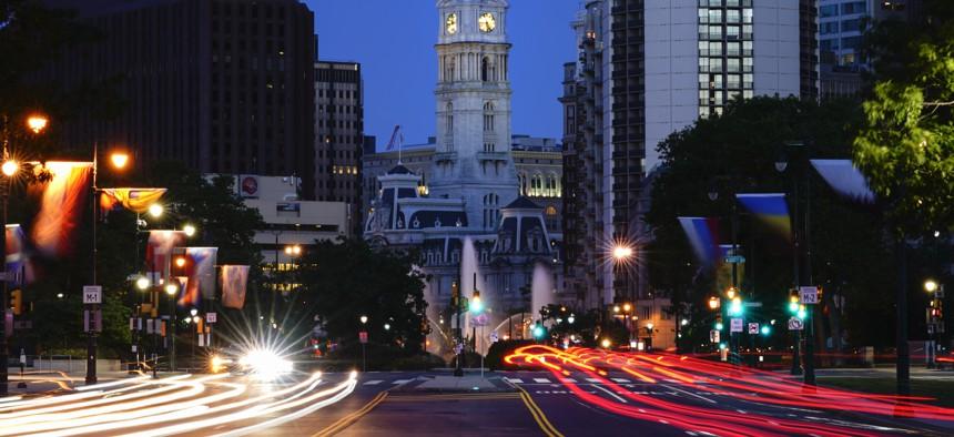 In this slow-shutter speed exposure, shown is City Hall in Philadelphia, Thursday, June 24, 2021.