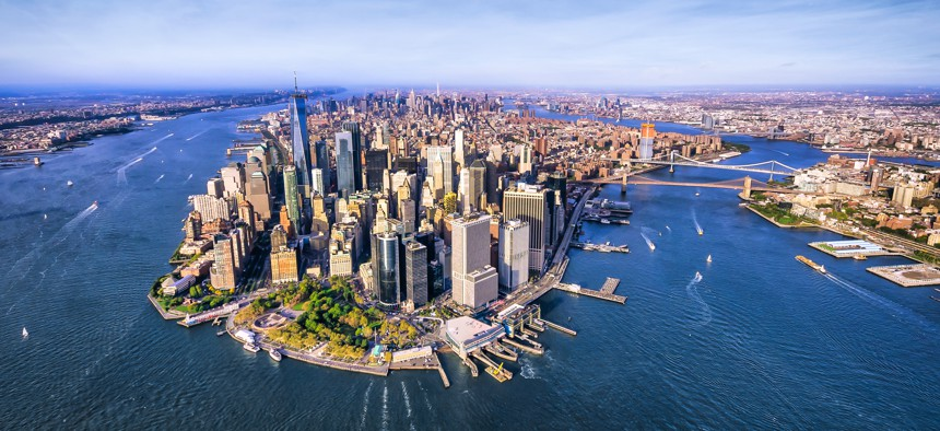 """The skyline in New York City. New York is one of the states where lawmakers and others have pushed back against the $10,000 cap on the """"SALT"""" deduction."""