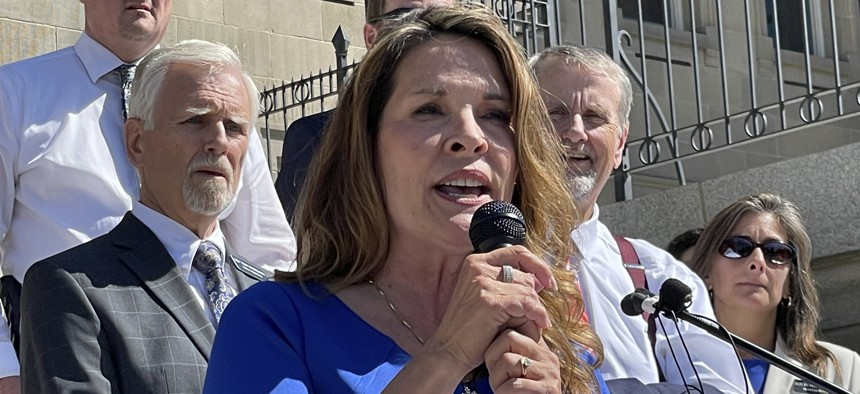 In this Sept. 15, 2021 file photo Republican Lt. Gov. Janice McGeachin addresses a rally on the Statehouse steps in Boise, Idaho.