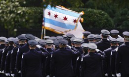 Chicago policer officers salute the colors as the body of slain Chicago police officer Ella French arrives at the St. Rita of Cascia Shrine Chapel Wednesday, Aug. 18, 2021, for a wake.  French was killed and her partner was seriously wounded during an Aug. 7 traffic stop on the city's South Side.