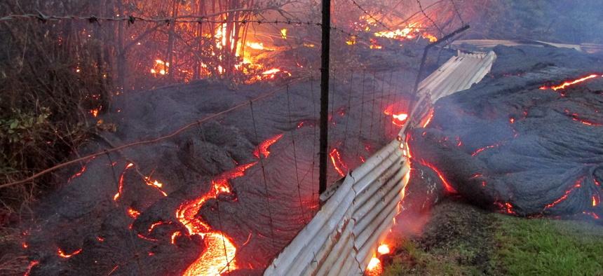 The lava flow is just outside Pahoa, Hawaii.