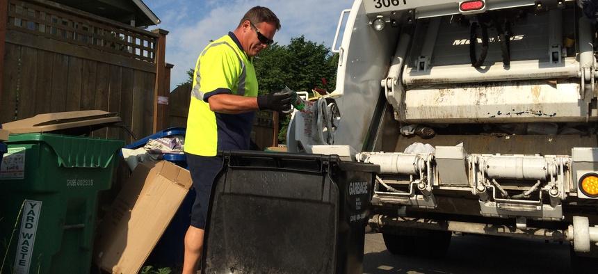 Rodney Watkins of Seattle Public Utilities on the job in southeast Seattle.