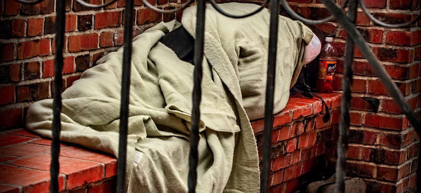 A homeless person sleeping in San Jose, California.
