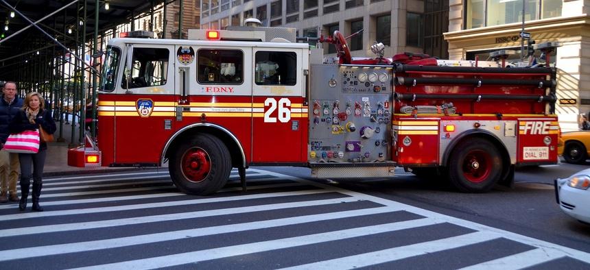 A firetruck in New York City.