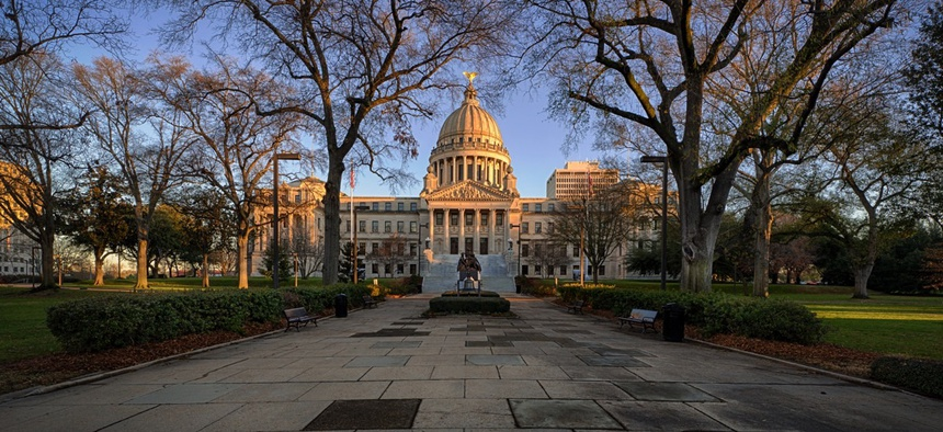 """The Mississippi State Capitol. The state's lawmakers have raised sums known as """"felony theft thresholds,"""" to focus limited prison space on more serious offenders."""