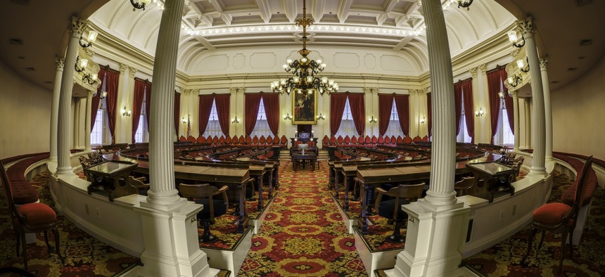 The House of Representatives chamber of the Vermont state house. According to the head of Vermont's state employees union, temporary jobs are among the fastest-growing in state government.