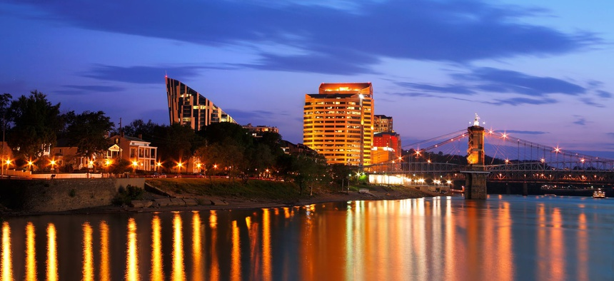 Covington is located in Kenton County, Kentucky, across the Ohio River from Cincinnati.