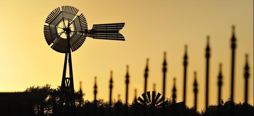 Silhouette of windmills near Lubbock, Texas