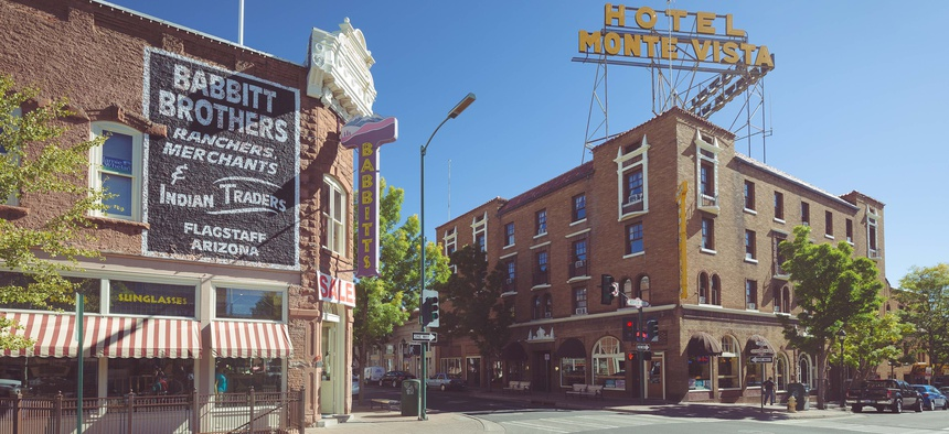 The historic city center of Flagstaff, Arizona.