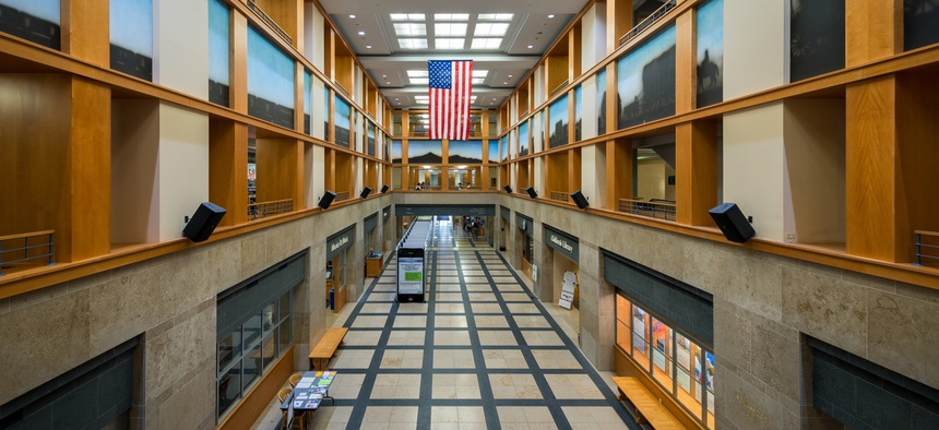 The lobby of the Denver Public Library