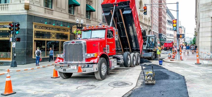 Roadwork in Boston, during July 2017.