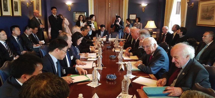 The Chinese delegation sits down with U.S. officials to talk trade in May in Washington, D.C.