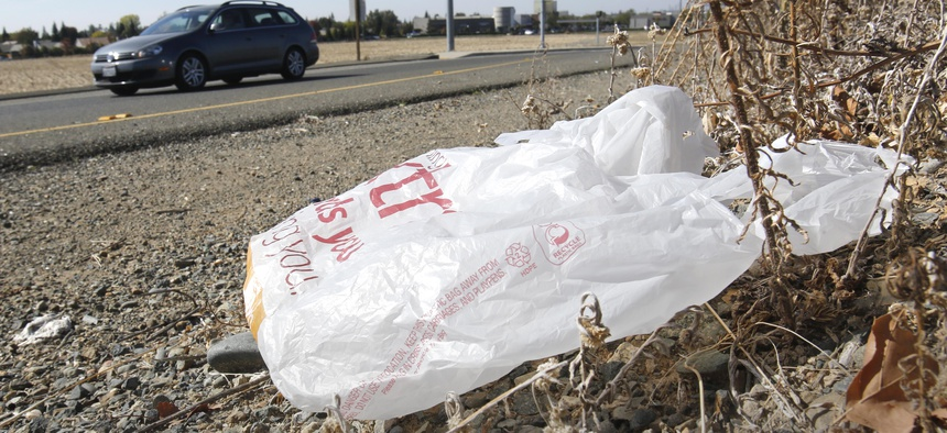 A bag by the side of the road in California.