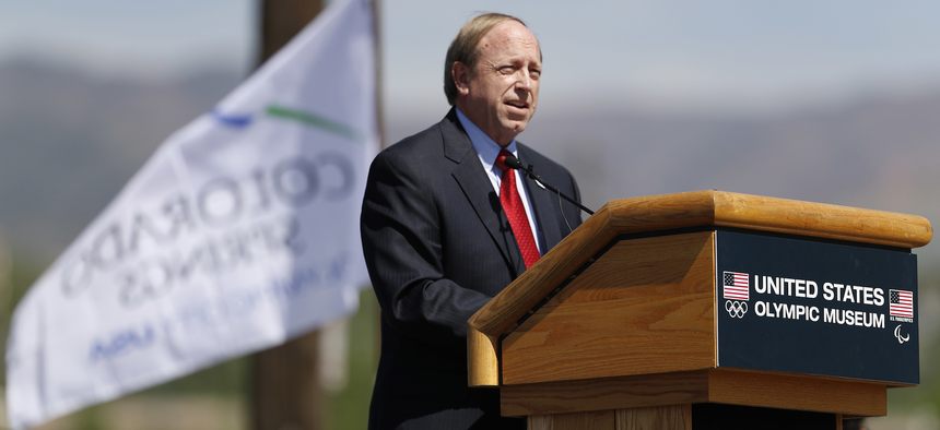 John Suthers, mayor of Colorado Springs, Colo., speaks during a ceremonial groundbreaking for a new Olympic museum Friday, June 9, 2017, in Colorado Springs, Colorado.