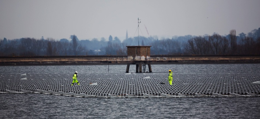 A floating solar panel array in London.