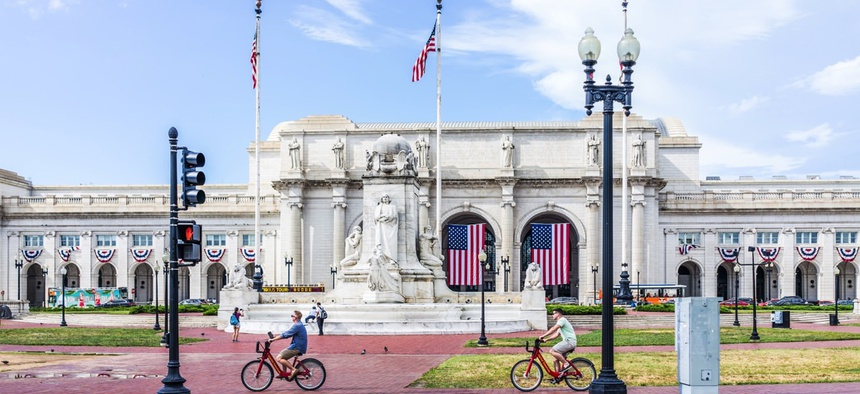 Bikeshare riders outside Union Station in Washington, D.C.