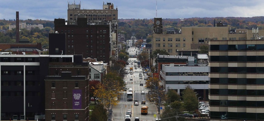 In this Oct. 24, 2017, photo, vehicles travel along State Street, the main thoroughfare through town, as seen from the Bicentennial Tower in Erie, Pa.