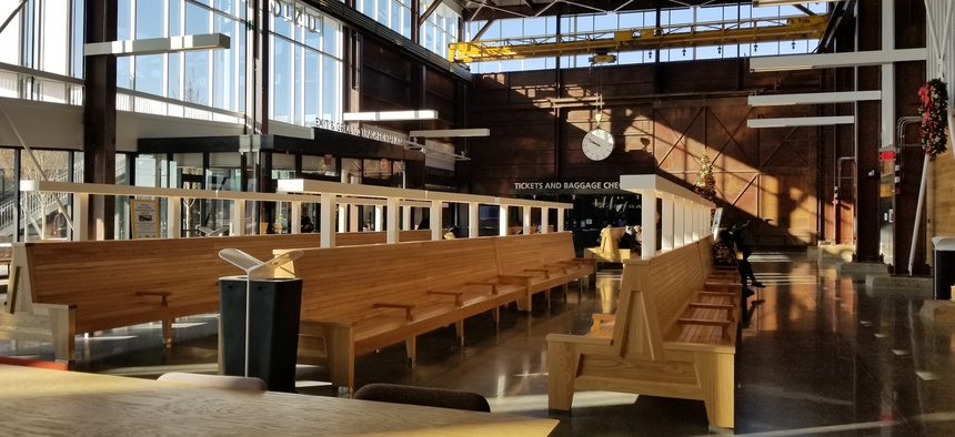 The ticketing hall and pre-boarding waiting area in Raleigh's new Union Station, which started serving passengers in July.