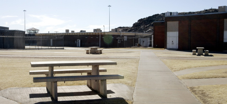 The empty yard at the Oklahoma State Reformatory is pictured, Tuesday, Jan. 24, 2006, in Granite, Okla.