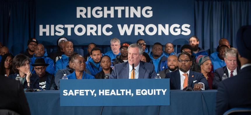 New York City Mayor Bill de Blasio speaks during a press conference on Thursday about marijuana legalization.