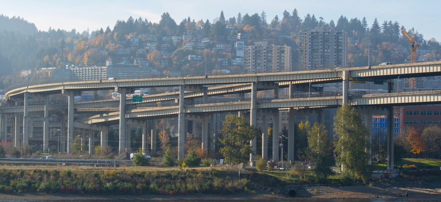 Interstate 5 crosses the Willamette River near Portland's city center.
