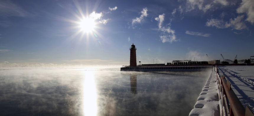 Steam rises from Lake Michigan in Milwaukee