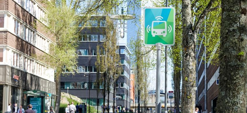 Bus stop for autonomous vehicles in Stockholm, Sweden.