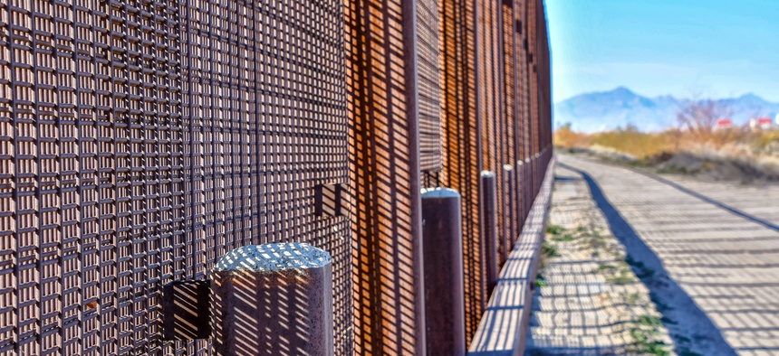The Mexican/U.S. border wall near downtown El Paso