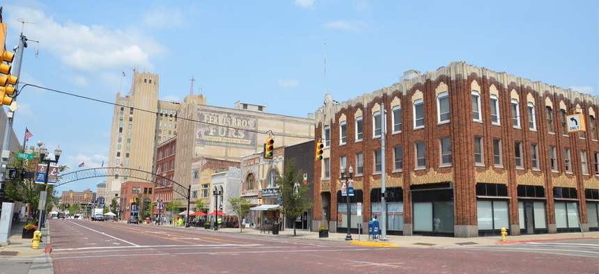Downtown in Flint, Michigan.