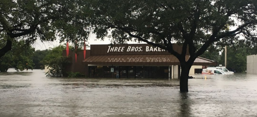 Three Brothers Bakery in Houston, Texas, after flooding from Hurricane Harvey.