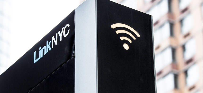 LinkNYC Wi-Fi kiosk on the street in New York City