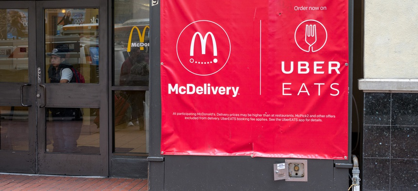 An ad for McDonald's and UberEats in San Francisco.