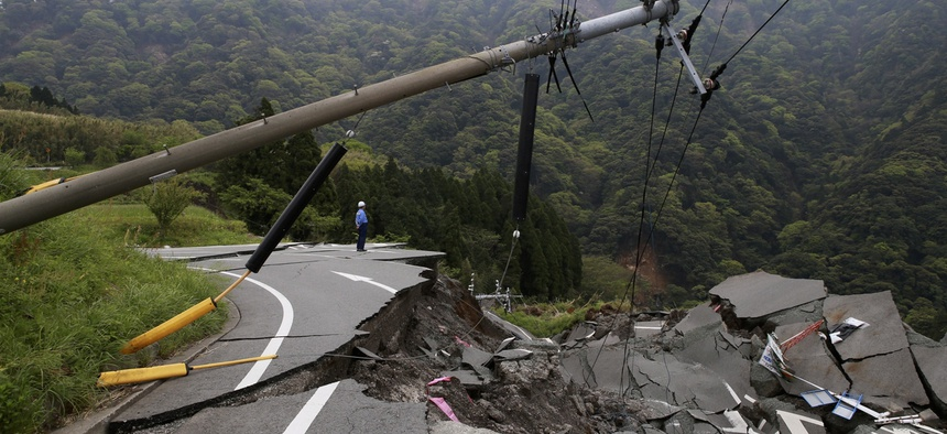 A collapsed road.