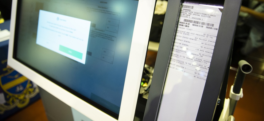 Shown is a paper ballot during a demonstration of the ExpressVote XL voting machine at the Reading Terminal Market in Philadelphia, Thursday, June 13, 2019.