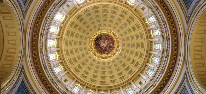 The rotunda inside Wisconsin's state capitol building.